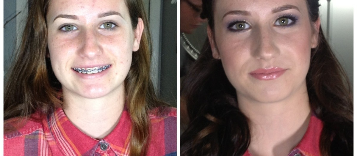 BEFORE and AFTER makeup applications